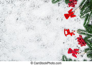 karácsony, elágazik, tél, keret, cukorka, fa, decor., apró, hó, háttér, év, új, fehér, ünnep, hópihe
