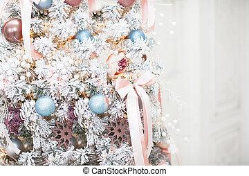 karácsony, gyönyörű, fa rész