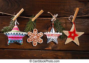 karácsony, gyűjtés, csillaggal díszít, zsinór, függő
