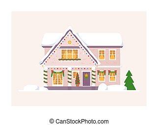 karácsony, háttér, elszigetelt, épület, fehér