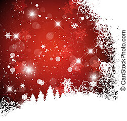 karácsony, háttér, piros