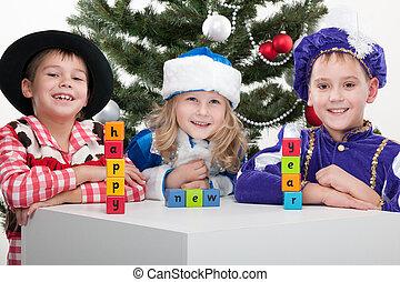 """karácsony, """"happy, elkészített, eltöm, farsang, tree;, sóhaj, elszigetelt, három, díszes, háttér, öltözött, új, fehér, díszkíséretek, gyerekek, year"""", köszönés"""