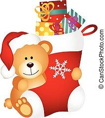 karácsony, hord, teddy-mackó