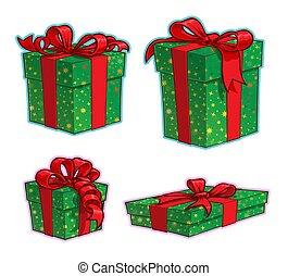 karácsony, ikon, dobozok, karikatúra, ajándék, négy, -, állhatatos