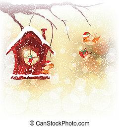 karácsony, köszönés, elküld, madár, vörösbegy, kártya