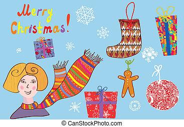 karácsony, leány, állhatatos, köszönés, részletek