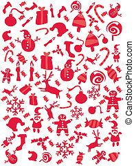karácsony, motívum, piros, seamless