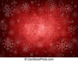 karácsony, piros háttér, jég