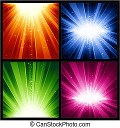 karácsony, robbanások, ünnepies, csillaggal díszít, fény, év, új