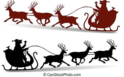 karácsony, sapka, klaus, kutya, árnykép, őz, háttér, szent, sleigh, fehér, gördülni, karikatúra