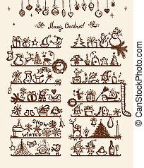 karácsony, skicc, bolt, -e, tervezés, rajz