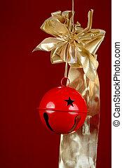 karácsony, szalag, csengő