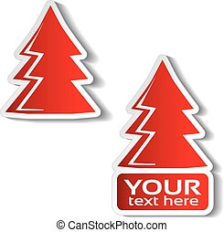 karácsony, tél fa, böllér, kínálat, kiárusítás, szöveg, címke, dolgozat, háttér., vektor, fehér, -e, piros