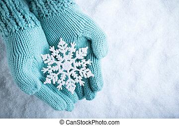 karácsony, tél, fogalom, böjti réce, fény, hó, szikrázó, egyujjas kesztyű, kötött, háttér., csodálatos, női kezezés, white hópihe