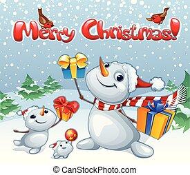 karácsony, tél holiday, furcsa, betűk, poszter, karikatúra, snowmen