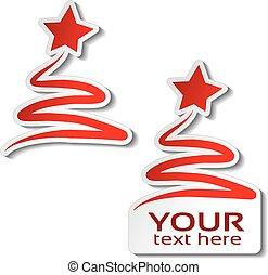 karácsony, tél, kínálat, csillag, böllér, fa, kiárusítás, szöveg, címke, dolgozat, háttér., vektor, fehér, -e, piros