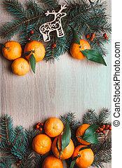 karácsony, tető, berries., dal, fenyő, kilátás, háttér, elágazik, mandarinok, rowan, frame., lakás, ünnep, tél