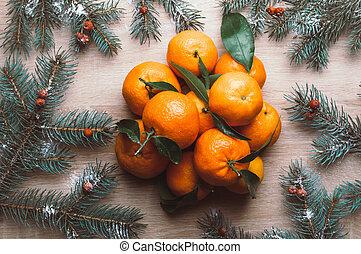 karácsony, tető, mandarins, bogyók, dal, fenyő, snow., kilátás, háttér, elágazik, frame., rowan, lakás, ünnep, tél