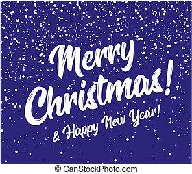 karácsony, vektor, év, kék, kerek, háttér, sky., hó, vidám, új, háttér., hópihe, boldog