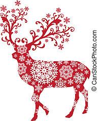 karácsony, vektor, őz