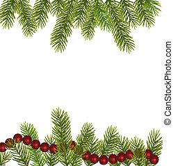 karácsony, vektor, fa, branches.