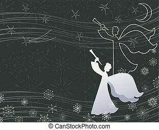 karácsony, vektor, hallócső, angyal, kártya, előest, játék