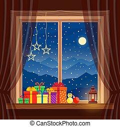 karácsony, világító, éjszaka, kék, tél, tehetség, hó, otthon, ablak, háttér, hold, kényelmes, gyertya, hegyek, garlands