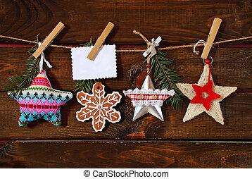 karácsony, zsinór, csillaggal díszít, gyűjtés, függő