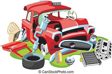 karambolozott, autó, öreg