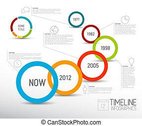 karikák, fény, infographic, sablon, timeline, jelent