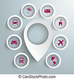 karikák, ikonok, 8, utazás, könyvjelző, piad, elhelyezés, fehér