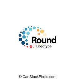 karikák, rendkívüli, nano, színes, logotype., elvont, tűzijáték, szikrázó, lenget, magas, vektor, tech, hajlékony, icon., molekuláris, logo., cégtábla., kerek circular