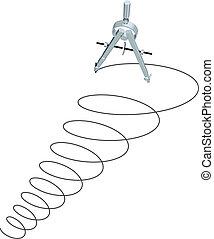 karikák, spirál, feláll, megfogalmazás, tervezés, iránytű, rajz