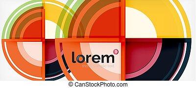karikák, színes, elvont, modern, kerek, alakzat, háttér, hat, árnyék, geometriai