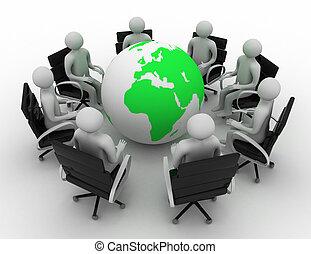 karika, földgolyó, businessmen, mindenfelé, ülés