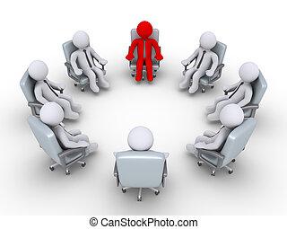 karika, főnök, businessmen, ülés