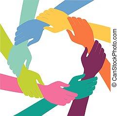 karika, kézbesít, csapatmunka, színes, kreatív
