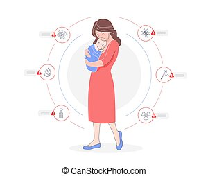 karika, totyogó kisgyerek, törődik, csecsemő, anya, birtok, karikatúra, körülvett, veszélyes, infographic