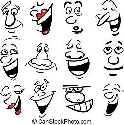 karikatúra, ábra, érzelmek