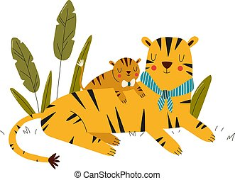 karikatúra, ábra, mód, szeret törődik, állatok, tiger, szafari, anya, csecsemő, tigress, vektor, elszigetelt, white., látszik