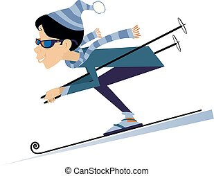 karikatúra, ábra, nő, downhill síelő