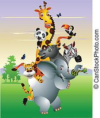 karikatúra, állat, afrikai, vad