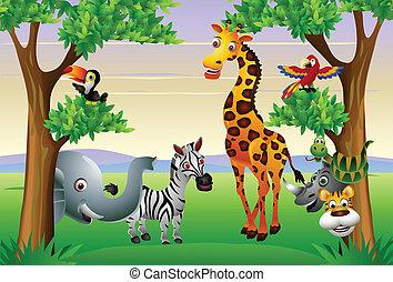 karikatúra, állat, furcsa, szafari