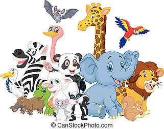 karikatúra, állatok, háttér, vad