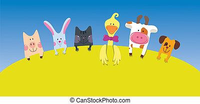 karikatúra, állatok, kártya, tanya