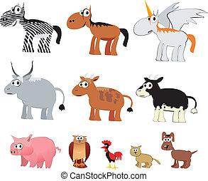 karikatúra, állatok, tanya, vektor
