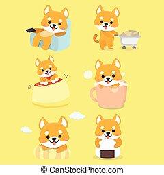karikatúra, állhatatos, shiba, inu, vector., kutya