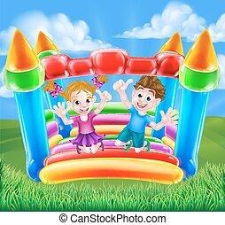 karikatúra, bástya, gyerekek, bouncy