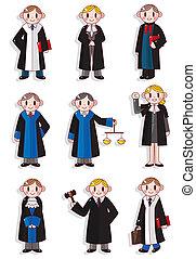 karikatúra, bíró, állhatatos, ikon