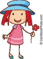 karikatúra, betű, kalap, húzott, mód, leány, kéz, fárasztó, szórakozottan firkálgat